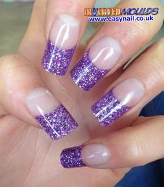 Purple Glitter Inverted Moulds by Jennifer Glass from Total Bliss.  IM Nail Training available from www.easynail.co.uk