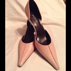 ALDO Light Pink pointy heels Light Pink, Aldo pointy heels with pink line on top, open on side, black 3inch heel, Size 8, great condition with exception of scuff mark on back of heel ALDO Shoes Heels
