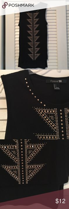 Top Black and gold embellished sleeveless top. Longer length (tunic). Like new condition. Forever 21 Tops Tunics