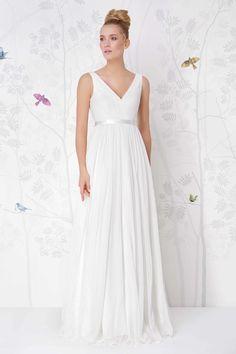 SADONI wedding dress LESLIE with A line figure in silk chiffon