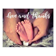 Birth Announcement Love And Thanks Script Photo Postcard - love cards couple card ideas diy cyo