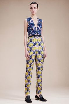Yigal Azrouël | Resort 2016 | 07 Blue/pink/yellow floral sleeveless jumpsuit