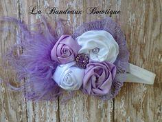 Satén rosa lavanda y costura blanca venda por LaBandeauxBowtique