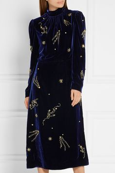 PRADA Embellished velvet midi dress