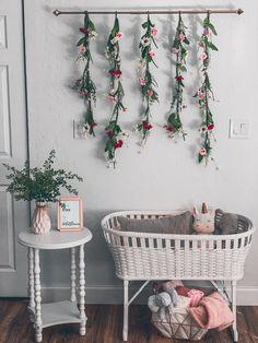 Wildflowers, pink and grey with gold accents. Woodland Nursery Girl, Girl Nursery, Girl Decor, Baby Room Decor, Flower Nursery, Baby Room Design, Vintage Nursery, Little Girl Rooms, Nursery Inspiration