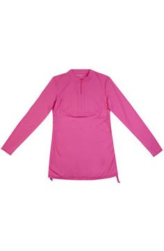 Adjustable Side Rash Guard Cover Up in Pink from Free Country.  Rash guard cover up with a longer silhouette, full length sleeves, and front zip at top for easy on and off. Adjustable sides allow for perfect fit.   http://www.freecountry.com/categories/womens/swimwear-cover-ups/products/adjustable-side-rash-guard-cover-up