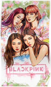 Fan art from South Korean Girls, Korean Girl Groups, Blackpink Poster, Blackpink Wallpaper, Pink Drawing, Black Pink Kpop, Blackpink Memes, Kpop Drawings, Blackpink Photos