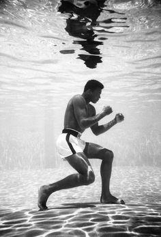 Muhammad Ali in a pool in Miami