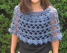 Graceful Shells Poncho by Maggie Weldon Crochet Cape, Crochet Poncho Patterns, Crochet Jacket, Crochet Cardigan, Crochet Scarves, Crochet Motif, Crochet Shawl, Crochet Clothes, Crochet Stitches