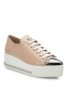 e2e2653bf66ab Miu Miu - Patent Leather Cap-Toe Platform Sneakers