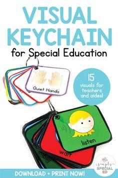 Visual Keychain for Special Education Teaching Life Skills, Teaching Special Education, Teaching Ideas, Teachers Aide, Teachers Toolbox, Teacher Binder, Organized Teacher, Cue Cards, Visual Cue