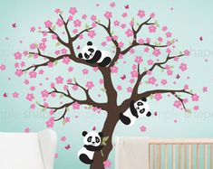Pandas y árbol de cerezos en flor etiqueta de por InAnInstantArt