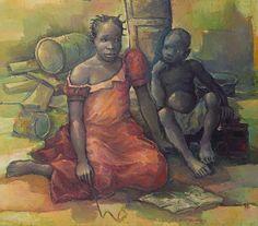Joseph Banza Zinga  La lecon d'orthographe, Creating Date: 1992 Medium: Oil on canvas Dimensions: 86cmX100cm