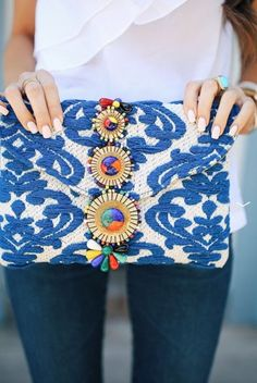 one shoulder ruffle top// AG jeans beaded embroidered clutch . Mode Style, Style Me, Fashion Bags, Womens Fashion, Boho, Passion For Fashion, Spring Summer Fashion, What To Wear, Fashion Accessories