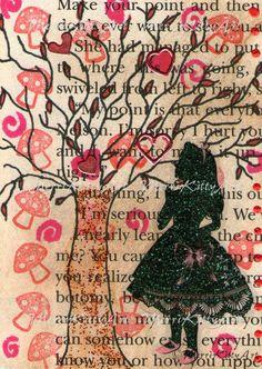 Alice Under the Tree  5 x 7 Print of Original by MerriKittyArt, £6.50