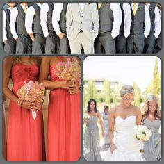 Can't decide between the coral/pink/guava dresses or the light grey/wisteria. We are definitely going with the groomsmen (minus the sneakers) and replace the yellow ties with coral/pink/guava