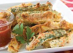 Sandra Lee shares a recipe. Got zucchini? Turn it into a tasty appetizer. Baked Zucchini Sticks, Bake Zucchini, Zucchini Fries, Yummy Appetizers, Appetizer Recipes, Holiday Appetizers, Healthy Snacks, Healthy Recipes, Healthy Dinners
