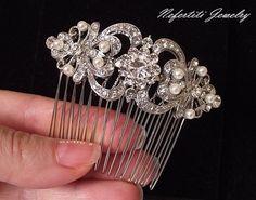 Pearl Wedding hair comb Bridal hair piece by nefertitijewelry2009