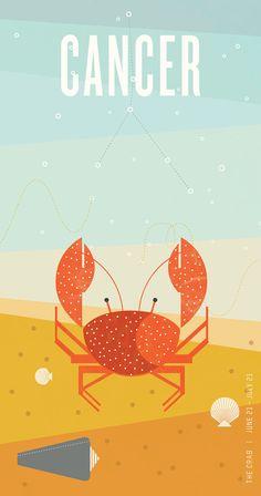 CANCER Zodiac Poster Midcentury Modern Art Print by TimothyKolstad on Etsy