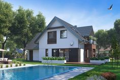 Projekt domu HP Taylor E Modern CE - DOM - gotowy koszt budowy House Plans, Mansions, House Styles, Classic, Outdoor Decor, Modern, Home Decor, Fashion, Gray Houses