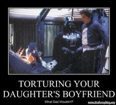 Torturing your daughter's boyfriend. What dad wouldn't? Darth Vader and Han Solo in Star Wars. Star Wars Meme, Film Star Wars, Anakin Vader, Darth Vader, Anakin Skywalker, Geek House, Daughters Boyfriend, Star Wars Personajes, The Force Is Strong