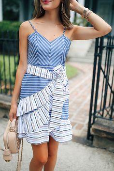 Parket Stripe Ruffle Dress Teamed With Nude Chanel Handbag Ruffle Dress 860bc4e325