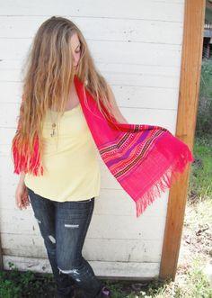 15 OFF SALE Fuscia wool native print scarf by ArieleSierraDesigns, $14.99