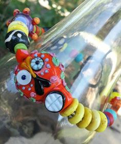 funky day of the dead colorful bracelet by KHamptonDesigns on Etsy