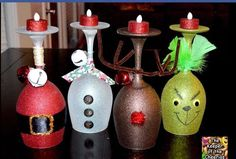 Christmas candle holders made from wine glasses