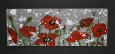 "How about a little bit of summer and winter together? This is ""Poppy Snow"" a painting done with ceramics on lava rock."