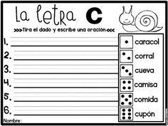 Dados, letras y oraciones (Roll the die and write a sentence) Fun activities in Spanish :)