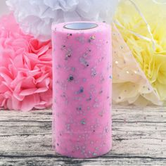 Flower Glitter Sequin Tulle Roll Spool 25 yards 15cm Tutu Wedding Decoration Polyester Fiber DIY  Price: 3.57 USD