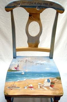 Painted Beach Art Chairs Art Adirondack chairs sure add great appeal to store fronts. Description from completely-coasta…. I searched for. Hand Painted Chairs, Hand Painted Furniture, Funky Furniture, Paint Furniture, Repurposed Furniture, Furniture Projects, Furniture Makeover, Painted Tables, Decoupage Furniture