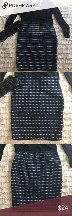 Ann Taylor Black and Blue Pencil Skirt size 6 Black, blue, and white pencil skirt by Ann Taylor size 6. New with tags, never worn. This is the perfect skirt to see you into winter. Looks great with boots and booties. 100% Polyester. Ann Taylor Skirts Pencil