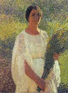 ⊰ Posing with Posies ⊱ paintings of women and flowers - Girl with Flowers,   Henri Martin