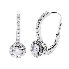 14k White Gold 1ct TDW Diamond Leverback Earrings (G-H, S-I)