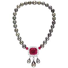 Betteridge Collection Cultured Pearl, Diamond & Ruby Necklace  These pearls are so amazing!!! <3 them!