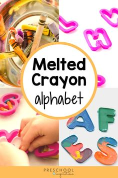 Use leftover crayons to make your own melted crayon alphabet! No oven is needed in this easy DIY crayon recipe. Use them in a literacy center, for preschool and kindergarten art projects, and more! Painting Activities, Alphabet Activities, Literacy Activities, Preschool Writing, Preschool Crafts, Crafts For Kids, Diy Crayons, Melting Crayons, Jungle Theme Classroom