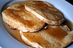 Banana Vanilla Protein Pancakes  Makes six large pancakes  Ingredients  1 1/2 cup old fashioned oats  1/2 cup fat-free cottage cheese  1/2 scoop vanilla protein powder  1 very ripe banana, mashed  1/4 cup milk  1/4 teaspoon vanilla extract  1 egg
