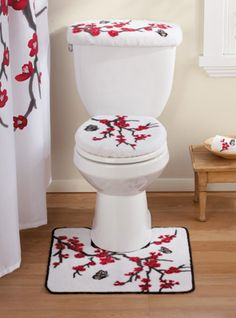 Asian Cherry Blossom Bathroom Commode Set