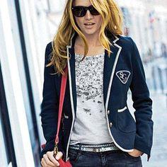 La Redoute Knit Blazer with Contrast Trim - Sale $49.99