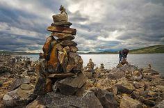 Hardangervidda National Park in Norway - Collection of Inukshuks