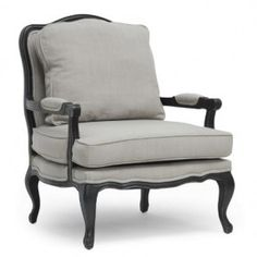 Inspired by French style, this magnificent accent chair features a rubber wood frame, with rubbed edges and black finish. The seat, backrest and armrests are padded with polyurethane foam, and upholstered in neutral gray linen fabric.