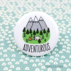 Hiking Pin Adventure Pinback Button Adventurous Wilderness Hiking Pin, Adventure Pinback Button, Adventurous, Wilderness Explorer, Backpack Pins, Outdoorsy Button, Adventure, Gift for Hiker, Camping