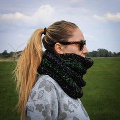 Black Green Grey Hand Crochet Neckwarmer / Long Double Wrapped