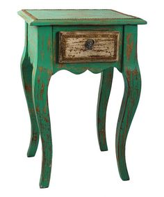 I love the shape of this table! Take a look at this Green & White Side Table by Modelli Creations on #zulily today!