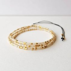 Dainty Bracelets, Seed Bead Bracelets, Bracelet Sizes, Gifts For Friends, Gifts For Her, Minimalist Jewelry, Gold Beads, Beaded Necklace, White Gold