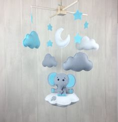 Elephant mobile  baby mobile  cloud mobile  elephant on the