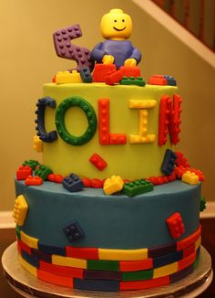 Lego Birthday Cake, something like this but include batman at top instead of lego man?    @Connie Adkins, just looking into ideas for C's party.