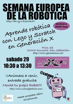 E&P Sarea: 29/12 Taller de #robótica con #lego en Donostia. Semana Europea de la Robótica #erw14 Learning, Atelier, Events
